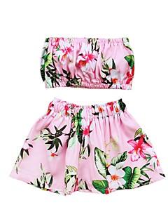 billige Badetøj til piger-Pige Sødt Aktiv Blomstret Badetøj, Bomuld Akryl Uden ærmer Lyserød