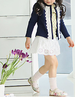 cheap Girls' Sweaters & Cardigans-Girls' Solid Sweater & Cardigan, Cotton Polyester Winter Spring Fall Long Sleeves Floral Navy Blue Pink