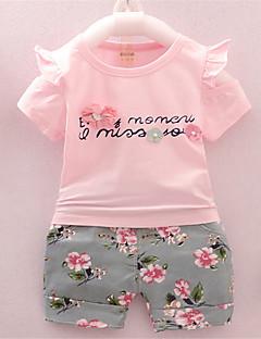 billige Sett med babyklær-Baby Pige Ensfarvet Kortærmet Tøjsæt