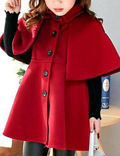 billige Jakker og frakker til piger-Pige Jakke og frakke Ensfarvet, Bomuld Rayon Polyester Vinter Efterår Sødt Afslappet Aktiv Brun Rød