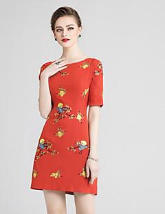 Χαμηλού Κόστους MORE BRANDS-Γυναικεία Βασικό Κινεζικό στυλ Σε γραμμή Α Φόρεμα - Μονόχρωμο Φλοράλ Πάνω από το Γόνατο