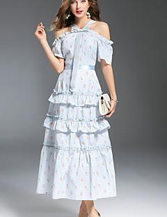 hesapli MMLJ-Kadın's sofistike Flare Kol Çan Elbise - Çiçekli, Fırfırlı / Dantelli Düşük Omuz Midi