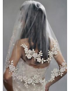 זול הינומות חתונה-שתי שכבות מסוגנן פנינים הינומות חתונה צעיפי מרפק עם דמוי פנינה ריקמה פולי