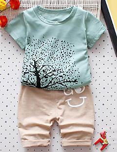 billige Tøjsæt til drenge-Baby Drenge Sødt Trykt mønster Trykt mønster Patchwork Kortærmet Tøjsæt