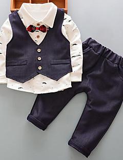 billige Babytøj-Drenge Daglig Trykt mønster Jakkesæt og blazer, Bomuld Polyester Forår Efterår Langærmet Basale Blå Rød Lilla