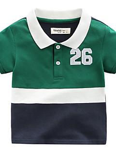 billige Overdele til drenge-Drenge Daglig Ferie Farveblok T-shirt, Bomuld Polyester Sommer Kortærmet Basale Grøn