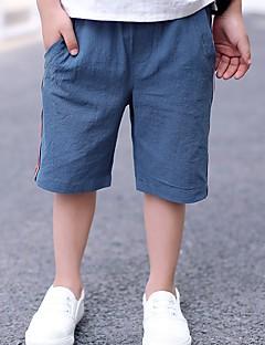 tanie Odzież dla chłopców-Jendolity kolor Prążki Dziewczyny Codzienny Len Lato Sukienka Aktywny Niebieski Khaki