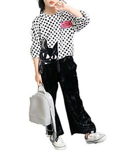 billige Tøjsæt til piger-Pige Tøjsæt I-byen-tøj Ferie Trykt mønster Ruder, Rayon Forår Efterår Sødt Aktiv Hvid