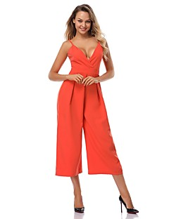 80c30cb794f1 Women s Party   Daily Street chic V Neck   Deep V Orange Jumpsuit