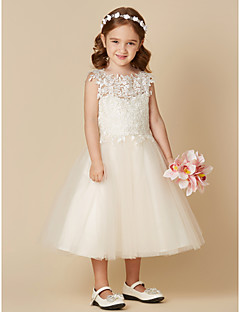 cheap Communion Dresses-A-Line Tea Length Flower Girl Dress - Lace Tulle Sleeveless Jewel Neck with Lace by LAN TING BRIDE®