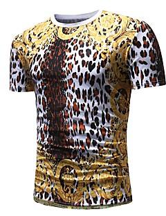 billige Herremote og klær-T-skjorte Herre - Polkadotter Leopard Dyr Grunnleggende Punk & Gotisk
