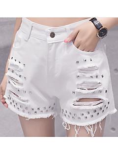 Χαμηλού Κόστους Denim Fashion-Γυναικεία Ενεργό Βαμβάκι Λεπτό Τζιν / Σορτσάκια Παντελόνι - Μονόχρωμο Λευκό