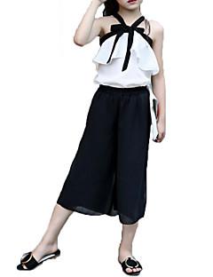 billige Tøjsæt til piger-Pige Indstiller Mode Helfarve Sløjfeknude,Bomuld Chiffon Sommer Ærmeløs Tøjsæt