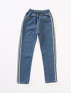 billige Bukser og leggings til piger-Stribet Pigens Daglig Polyester Forår Uden ærmer Kjole Basale Blå