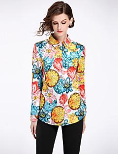billige Dametopper-Skjortekrage Skjorte Dame - Blomstret, Trykt mønster Gatemote