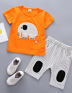 billige Tøjsæt til piger-Unisex Daglig Ferie Stribet Patchwork Tøjsæt, Bomuld Sommer Kortærmet Sødt Orange Gul