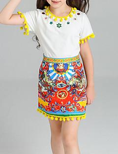 tanie Odzież dla dziewczynek-Komplet odzieży Bawełna Spandeks Dla dziewczynek Żakard Lato Yellow