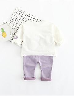 billige Tøjsæt til drenge-Unisex Daglig Ensfarvet Tøjsæt, Polyester Forår Langærmet Sødt Lilla Lyseblå