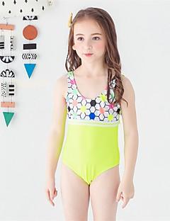 billige Badetøj til piger-Pige Sødt Aktiv Trykt mønster Badetøj, Polyester Uden ærmer Blå Grøn Orange Lyserød Gul