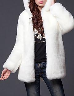 Χαμηλού Κόστους -Γυναικεία Μεγάλα Μεγέθη Γούνινο παλτό Κομψό στυλ street - Μονόχρωμο