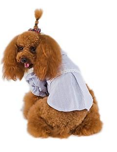 billiga Hundkläder-Husdjur 셔츠 Hundkläder Enfärgad Randig Brittisk Blå Rosa Cotton Jeans Kostym För husdjur Prinsessa Mode