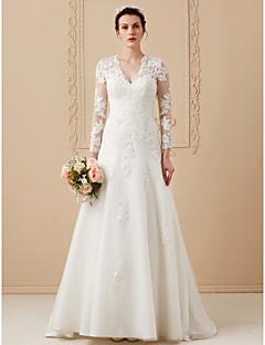billiga A-linjeformade brudklänningar-A-linje V-hals Svepsläp Satäng / Spets på tyll Bröllopsklänningar tillverkade med Applikationsbroderi av LAN TING BRIDE® / Illusion