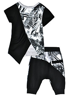 billige Tøjsæt til drenge-Baby Drenge Aktiv Farveblok Kortærmet Tøjsæt