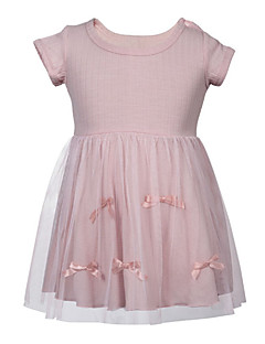 billige Babykjoler-baby pige solid farvet kjole, polyester sommer korte ærmer rødme pink 70 80 110 100 90