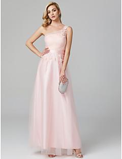 baratos Vestidos de Formatura-Linha A Assimétrico Longo Renda sobre Tule Evento Formal Vestido com Apliques / Flor de TS Couture®