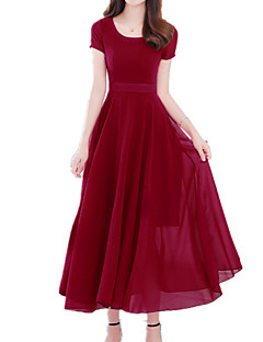 cheap Women's Dresses-Women's Holiday Sophisticated / Boho Slim Sheath / Swing Dress - Solid Colored Red U Neck