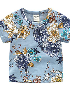 billige Overdele til drenge-Drenge Daglig Ferie Blomstret T-shirt, Bomuld Polyester Sommer Kortærmet Basale Blå Kakifarvet