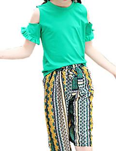 billige Tøjsæt til piger-Pige Daglig Trykt mønster Tøjsæt, Polyester Forår Sommer Kortærmet Boheme Grøn Gul
