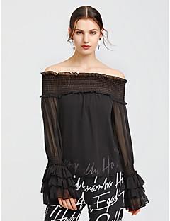 billige SS 18 Trends-Polyester Draperte ermer Båthals Bluse - Ensfarget, Drapering Dame