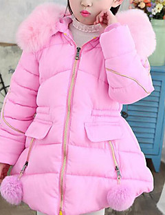 cheap Girls' Jackets & Coats-Girls' Solid Down & Cotton Padded Blue Blushing Pink Gray