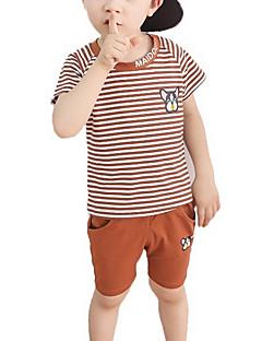 tanie Odzież dla chłopców-Dla chłopców Codzienny Prążki Komplet odzieży, Poliester Lato Krótki rękaw Urocza Brown Navy Blue