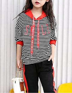 billige Tøjsæt til piger-Pige Tøjsæt Stribet, Bomuld Polyester Efterår Langærmet Stribet Blå Rød