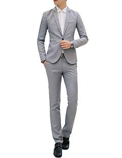 cheap Suit-Men's Work Spring / Fall Regular Suits, Solid Colored Shirt Collar Long Sleeve Cotton / Polyester Light Blue / Khaki / Royal Blue L / XL / XXL / Business Formal / Slim