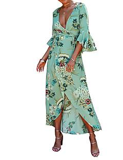 cheap Women's Dresses-Women's Boho Flare Sleeve Sheath Dress - Floral, Print