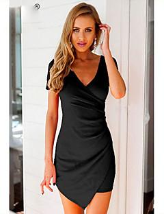 Χαμηλού Κόστους Little Black Dresses-Γυναικεία Αργίες Πολύ στενό Εφαρμοστό Φόρεμα - Μονόχρωμο Πάνω από το Γόνατο / Ασύμμετρο Λαιμόκοψη V Μαύρο / Sexy