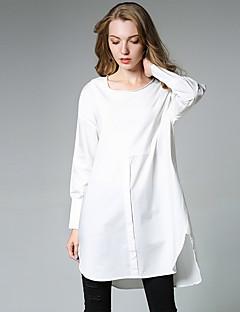 billige Skjorte-Dame-Ensfarvet Basale Skjorte