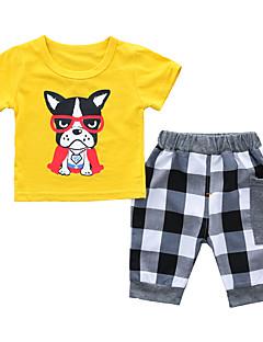 billige Tøjsæt til drenge-Drenge Daglig Ferie Blomstret Trykt mønster Tøjsæt, Bomuld Sommer Kortærmet Aktiv Grå Gul Lyseblå