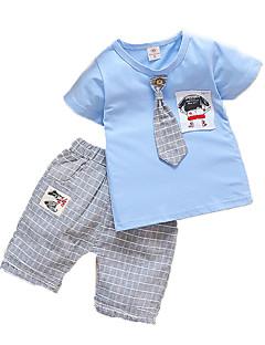 billige Tøjsæt til drenge-Drenge Daglig Ferie Stribet Tøjsæt, Bomuld Sommer Kortærmet Aktiv Lyserød Lysegrøn Lyseblå