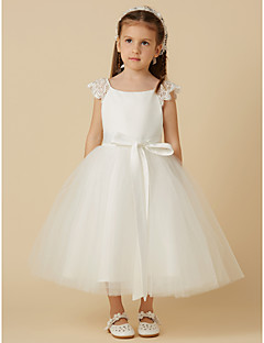 cheap Flower Girl Dresses-Princess Tea Length Flower Girl Dress - Lace Satin Tulle Short Sleeves Scoop Neck with Bow(s) Sash / Ribbon by LAN TING BRIDE®