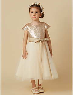 cheap Flower Girl Dresses-Princess Tea Length Flower Girl Dress - Tulle Sequined Short Sleeves Jewel Neck with Bow(s) by LAN TING BRIDE®