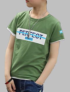 billige Overdele til drenge-Drenge Daglig I-byen-tøj Trykt mønster T-shirt, Bomuld Forår Sommer Kortærmet Aktiv Blå Grøn