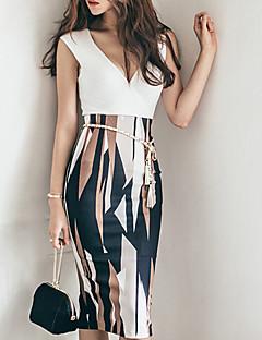 お買い得  レディースツーピースセット-女性用 ボヘミアン セット - プリント, 幾何学模様 スカート