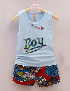 tanie Odzież dla chłopców-Dla chłopców Codzienny Urlop Nadruk Komplet odzieży, Bawełna Akryl Wiosna Lato Bez rękawów Urocza Aktywny Niebieski Clover Blushing Pink
