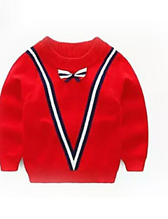 billige Sweaters og cardigans til drenge-Drenge Daglig Stribet Trøje og cardigan, Polyester Forår Langærmet Aktiv Rød Navyblå