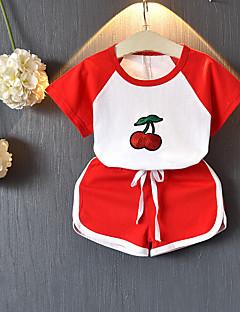 billige Tøjsæt til piger-Børn Unisex Farveblok Jacquard Vævning Kortærmet Tøjsæt