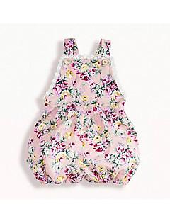 billige Babytøj-Baby Pige Trykt mønster Uden ærmer Overall og jumpsuit